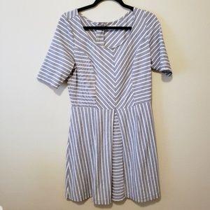 Maison Jules gray & white short sleeve mini dress